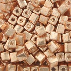 Picture of Galvanized Gold Square Bead #471 / 4x4mm<br />Approximately 25 ~ Grams