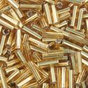 Picture of Silverlined Gold Bugle Beads #4 / Size 6mm<br />Approximately 25 ~        Grams