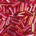 Picture of Silverlined Red AB Bugle Bead #638 / 6mm<br />Approximately 25 ~        Grams