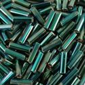 Picture of Silverlined Dk Green AB Bugle Bead #647 / 6mm<br />Approximately 25 ~        Grams