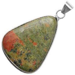 Picture of Silver Plated Unakite Stone Pendant