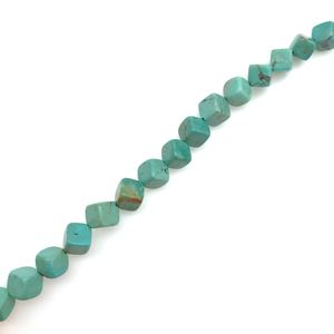 """Picture of Stabilized Turquoise Square Corner Bead 6mm, 16"""" Bead Strand"""