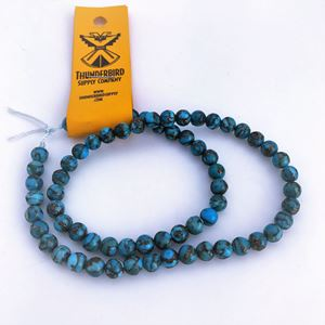 """Picture of Compressed Stabilized Turquoise and Copper 6mm 16"""" Strand"""
