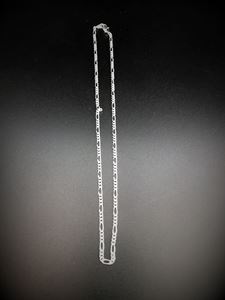 Picture of Silver Plated Figaro Chain 18 inch x 3.1mm, IMPORTED ECONOMY QUALITY ~        CHAINS: DUE TO THE PRICE, THIS ITEM VARIES IN LENGTH AND SIZE, NO REFUNDS OR ~        EXCHANGES.