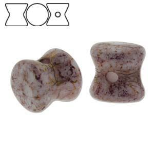 Picture of Chalk White Terracotta Purple Pellet Czech Beads 4x6mm<br />30 ~        Beads