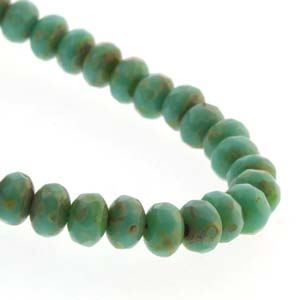 Picture of Czech Glass Green Turquoise Dark Travertine Fire Polished Rondelle ~        3x5mm<br />50 Beads