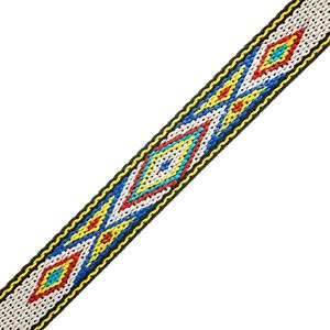 "Picture of 3/4"" White and Blue Woven Braid - 5 feet"