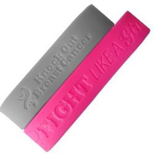 """Picture of Breast Cancer Large Hot Pink Silicone Wrist Band, 8"""""""