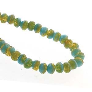Picture of Czech Glass Green Turquoise/Topaz Fire Polished Rondelle 3x5mm<br ~        />50 Beads
