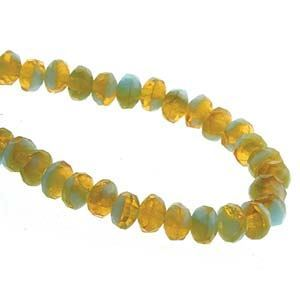 Picture of Czech Glass Green Turquoise/Topaz Matte Fire Polished Rondelle ~        3x5mm<br />50 Beads