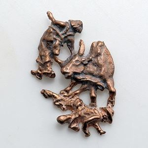 Picture of Red Brass Bull with Rodeo Clown Rodeo Cast, 36x2mm