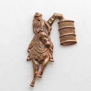 Picture of Red Brass Barrel Racer Rodeo Cast, 30x19mm