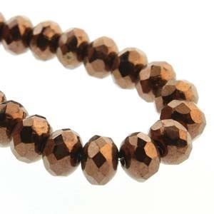 Picture of Czech Glass Dark Bronze Fire Polished Rondelle 4x7mm<br />40 ~        Beads