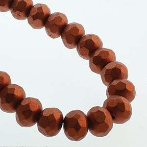 Picture of Czech Glass Bronze Copper Fire Polished Rondelle 6x9mm<br />25 ~ Beads