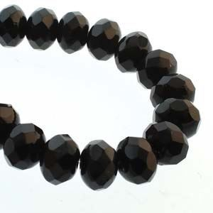 Picture of Czech Glass Jet Fire Polished Rondelle 6x9mm<br />25 Beads