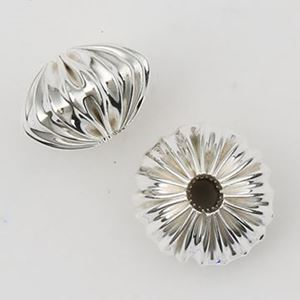 Picture of Sterling Silver Corrugated Rondelle Bead, 7.4x12mm