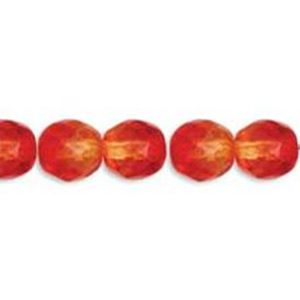 Picture of Fire Opal Fire Polish Czech Beads 4mm<br />38 Beads per ~        strand