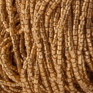 Picture of 3-Cut Size 9/0, Preciosa Czech Seed Bead, Opaque Gold Metallic, Sold ~ by the Hank