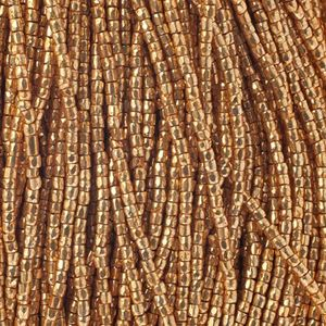 Picture of 3-Cut Size 9/0, Preciosa Czech Seed Bead, Opaque Gold Premium, Sold ~ by the Hank