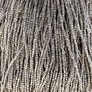 Picture of 3-Cut Size 9/0, Preciosa Czech Seed Bead, Opaque Silver Terra ~        Metallic Dyed, Sold by the Hank