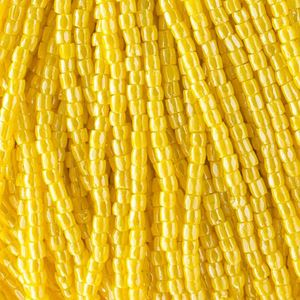 Picture of 3-Cut Size 9/0, Preciosa Czech Seed Bead, Opaque Yellow Luster, Sold ~ by the Hank