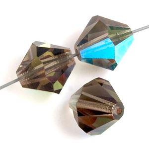 Picture of 8mm Preciosa Bi-Cone, Black Diamond AB Glass Beads, 5in ~        Strand