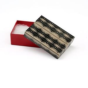 Picture of Tan, Black and Red Cotton Filled Gift Box, 3 1/4 x 2 1/4 x 1 ~        Inch