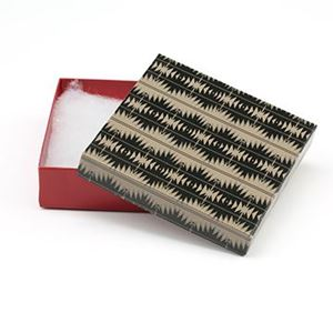 Picture of Tan, Black and Red Cotton Filled Gift Box, 3 1/2 x 3 1/2 x 1 ~ Inch