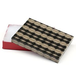Picture of Tan, Black and Red Cotton Filled Gift Box, 5 1/4 x 3 3/4 x 1 ~ Inch
