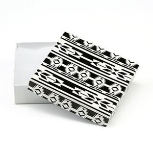 Picture of Black and White Cotton Filled Gift Box, 3 1/2 x 3 1/2 x 1 ~ Inch