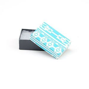 Picture of Turquoise and Grey Cotton Filled Gift Box, 2 5/8 x 1 1/2 x 1 ~        Inch