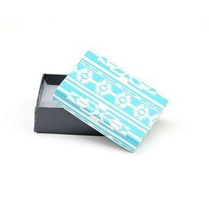 Picture of Turquoise and Grey Cotton Filled Gift Box, 3 1/4 x 2 1/4 x 1 ~        Inch
