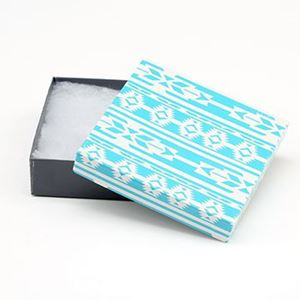 Picture of Turquoise and Grey Cotton Filled Gift Box, 3 1/2 x 3 1/2 x 1 ~        Inch