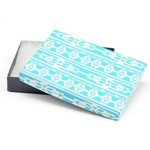 Picture of Turquoise and Grey Cotton Filled Gift Box, 5 1/4 x 3 3/4 x 1 ~        Inch