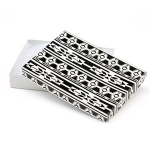 Picture of Black and White Cotton Filled Gift Box, 5 1/2 x 3 3/4 x 1 ~        Inch