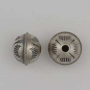 Picture of Sterling Silver Stamped Seam Sunrise Bead, 7mm