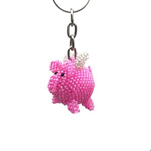 Picture of Beaded Keychain Flying Pig