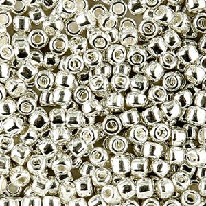 Picture of Galvanized Silver Seed Beads Color 470 Size 6<br />Approximately 25 ~        Grams