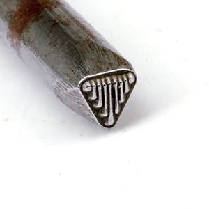 """Picture of Steel Stamp, #2 Triangle Lines, 1/4"""""""