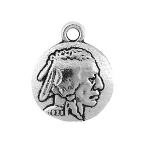 Picture of Silver Plated 15mm Indian Head, Charm. 10 Charms