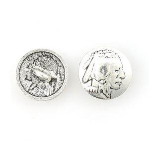 Picture of Base Metal, 18mm, Indian Head Concho Button. 10 Buttons
