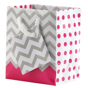 "Picture of Paper Tote, Polka Dot/Chevron Pink, 3"" x 2"" x 3-1/2"" H"