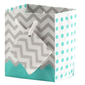 """Picture of Paper Tote, Polka Dot/Chevron Turquoise, 3"""" x 2"""" x 3-1/2"""" H"""