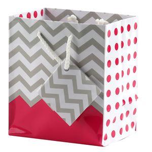 "Picture of Paper Tote, Polka Dot/Chevron Coral, 4"" x 2-3/4"" x 4-1/2"" H"