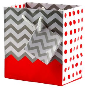 """Picture of Paper Tote, Polka Dot/Chevron Pink, 4"""" x 2-3/4"""" x 4-1/2"""" H"""