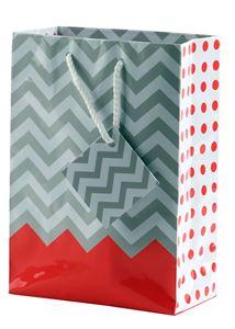 "Picture of Paper Tote, Polka Dot/Chevron Coral, 4-3/4"" x 2-1/2"" x 6"" H"