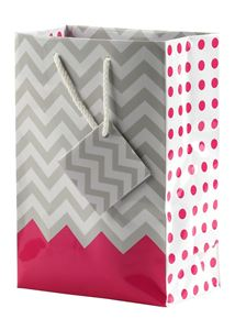 "Picture of Paper Tote, Polka Dot/Chevron Pink, 4-3/4"" x 2-1/2"" x 6"" H"