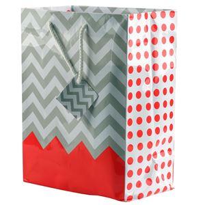 "Picture of Paper Tote, Polka Dot/Chevron Coral, 8"" x 5"" x 10"" H"