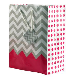 """Picture of Paper Tote, Polka Dot/Chevron Pink, 8"""" x 5"""" x 10"""" H"""